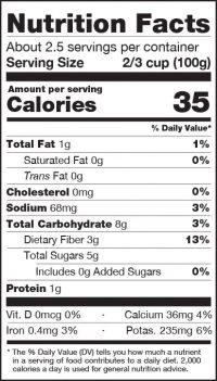 Sliced Carrots Nutrition