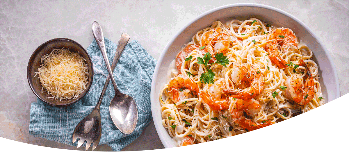 Garlic-Parm Shrimp Linguine Alfredo