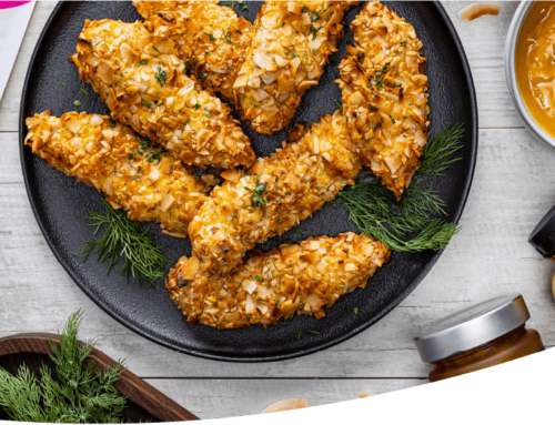 Coconut Crusted Chicken Tenders with Apricot-Mustard